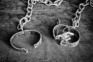 Ancient medieval handcuffs, detail of a former torture tool,.