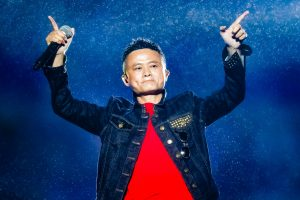 Jack Ma or Ma Yun, chairman of Chinese e-commerce giant Alibaba Group, performs during the Music Festival of the Computing Conference 2017 in Hangzhou city, east China's Zhejiang province, 11 October 2017.